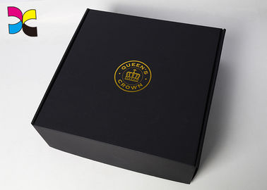 China Black Folding Custom Printed Shipping Boxes / Clothing Packaging Boxes factory