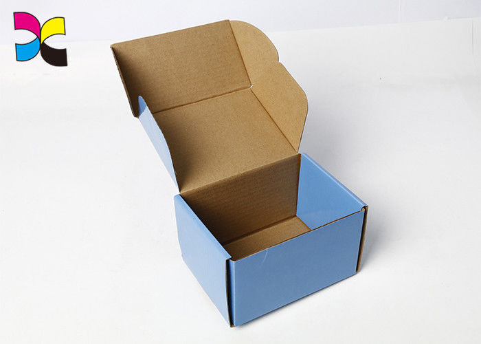 High End Blue Printed Gift Boxes / Rectangle Cardboard Packing Boxes supplier