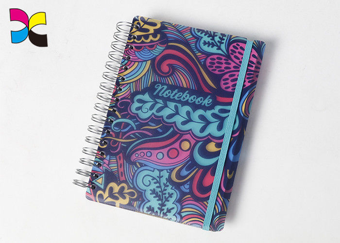A6 Spiral Notebook Printing Colorful Round Corners PVC With Elastic Band supplier