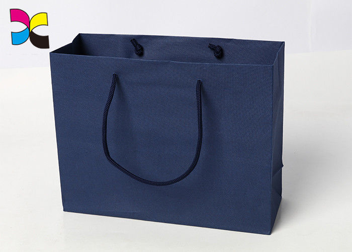 Durable Printed Paper Carrier Bags With Twisted Handles Blue Color supplier