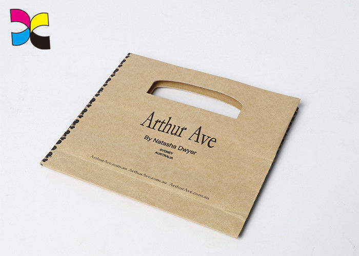 Kraft Printed Paper Bags Die Cutting One Hole Handle Black Logo Hot Stamping supplier
