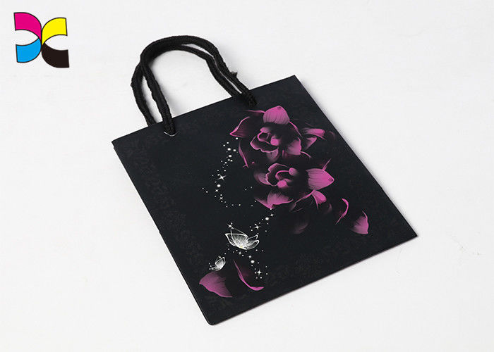 Recyclable Small Black Paper Bags With Handles / Flower Pattern Rectangle Or Square Shape supplier