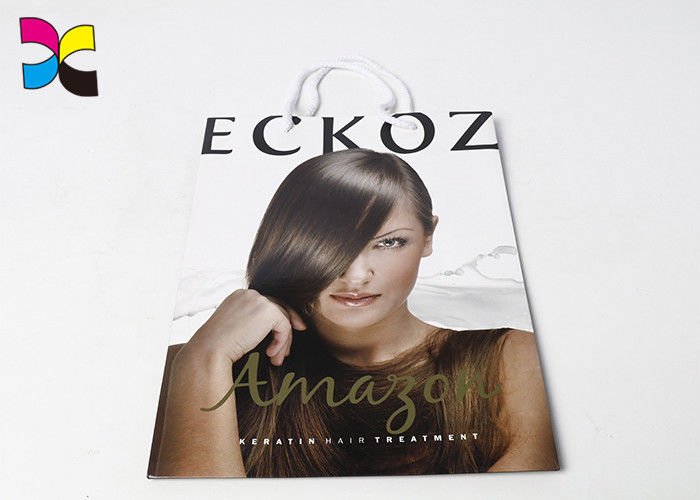 Hair Care Items Printed Carrier Bags With White Handle In CMYK Color Eco - Friendly supplier