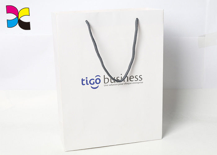 Luxury White Printed Paper Shopping Bags With Gold Nylon Rope Handle FSC ISO supplier