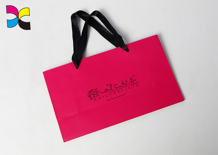 Pink Color Printed Paper Bags Black Ribbon Handle Earth - Friendly Embossing supplier
