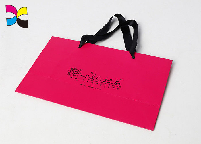 Pink Printed Paper Bags For Chain Store ,  Silver Foil Logo White Art Paper Bag supplier