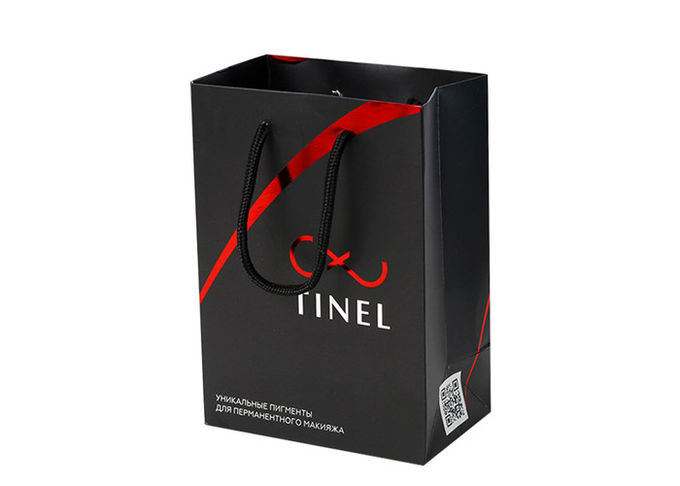 Small Size Offset Custom Printed Promotional Bags , Red Personalised Printed Carrier Bags