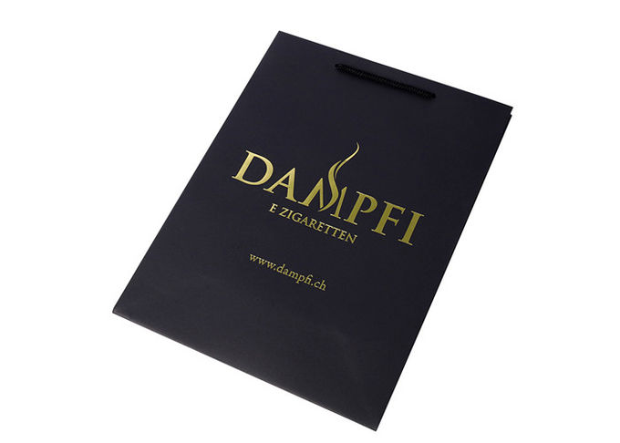 Golden Foil Stamping Logo Printed Paper Bags Matt Lamination Surface With Coloful Handle