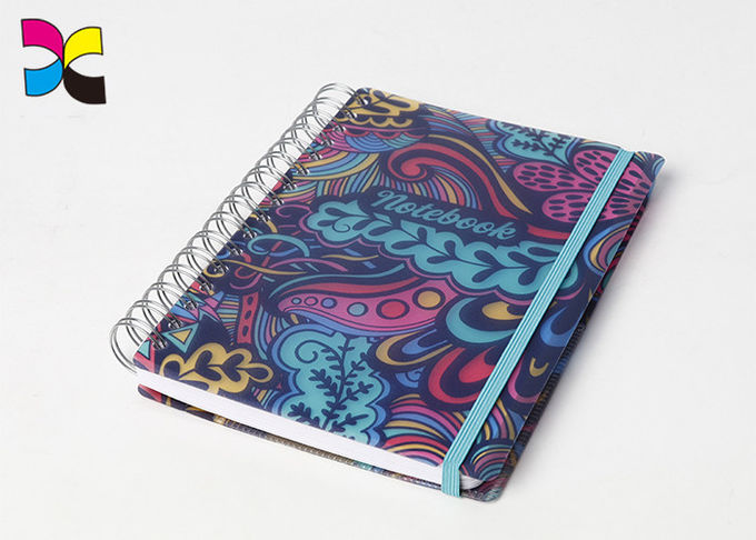Professional Stationery Hardcover PU Spiral Notebook Printing With Elastic Band