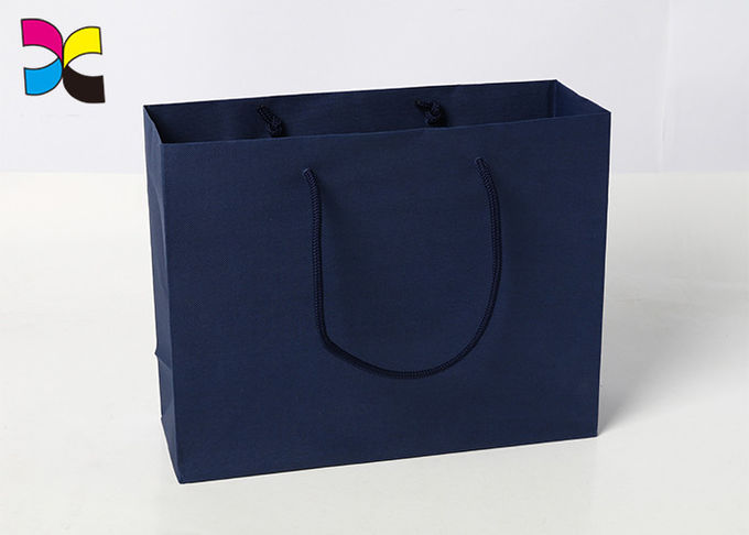 Durable Printed Paper Carrier Bags With Twisted Handles Blue Color