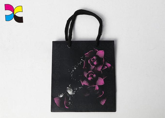 Recyclable Small Black Paper Bags With Handles / Flower Pattern Rectangle Or Square Shape