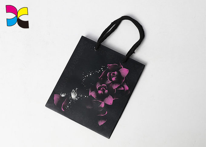 Gold Foil Logo Printed Shopping Paper Bags / Personalized Black Gift Bags