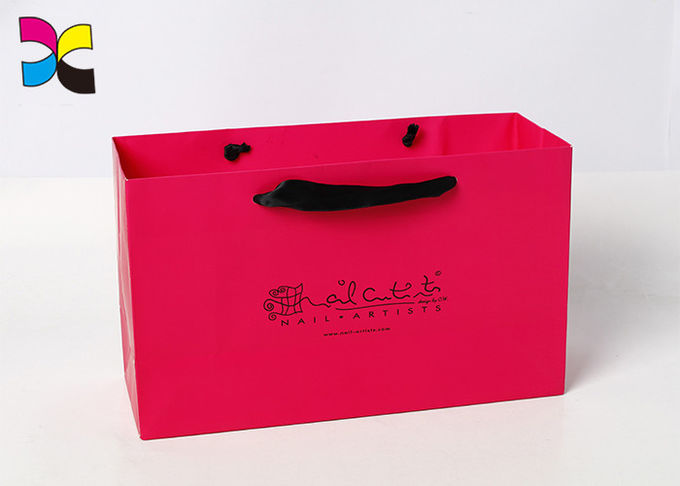 Pink Color Printed Paper Bags Black Ribbon Handle Earth - Friendly Embossing