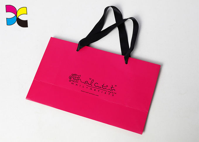 Window And Small Handle Printed Paper Bags For Chain Store / Supermarket